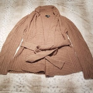 A.n.a. Long Brown Belted Cardigan w Gold Thread